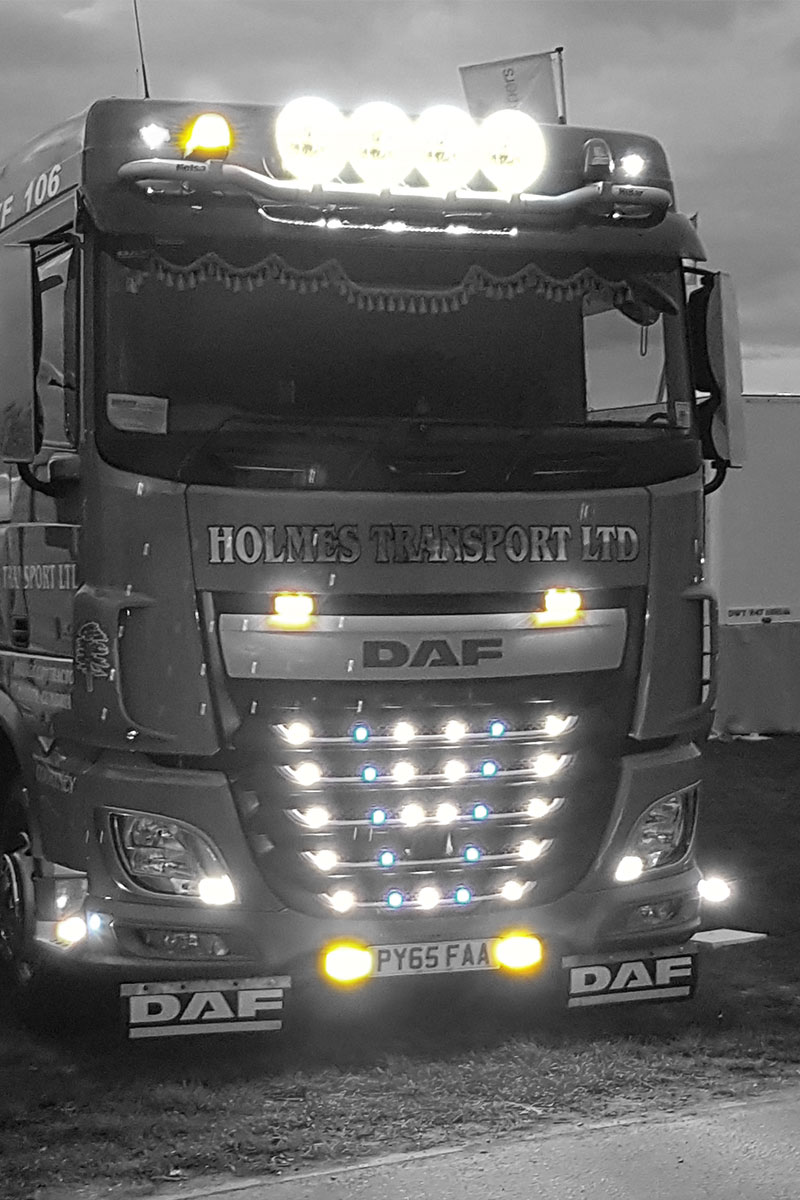 Holmes Transport LTD Lorry with LEDs supplied by DF Auto Services.